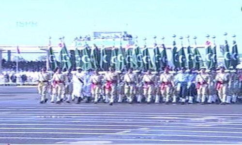 President, PM and army chief attend military parade in Islamabad to mark Pakistan Day