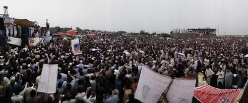 Thousands gather to demand basic human rights at PTM jalsa in Peshawar. — Photo by Author