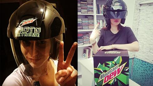 Mountain Dew is gearing up for something extreme with these black and neon helmets