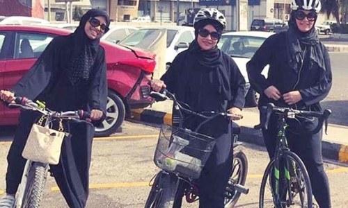 سعودی عرب میں پہلی بار خواتین کی سائیکل ریس