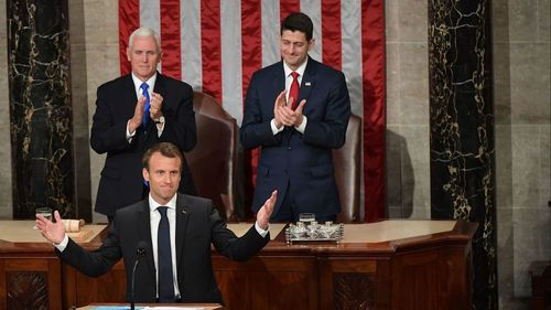 France's Macron pushes back at 'America First' agenda in Congress address