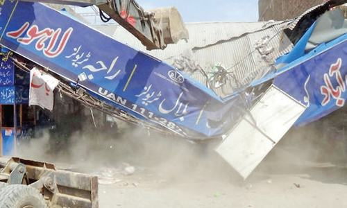 Six bus stands demolished at Faizabad
