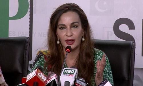 Senate opposition leader Sherry Rehman addresses a press conference in Karachi. — DawnNewsTV