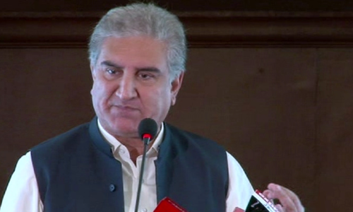 PTI leader Shah Mahmood Qureshi speaking at a ceremony in Islamabad on Sunday. — DawnNewsTV