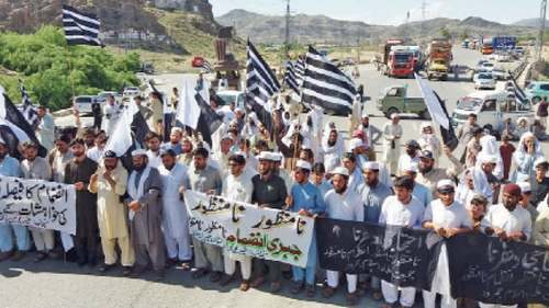 JUI-F workers block road against Fata-KP merger