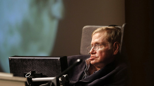 Stephen Hawking's voice beamed into space during London burial