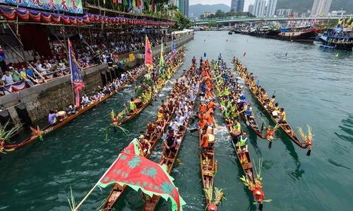 ہانگ کانگ:  ڈریگن کشتیوں کے روایتی میلے کا انعقاد