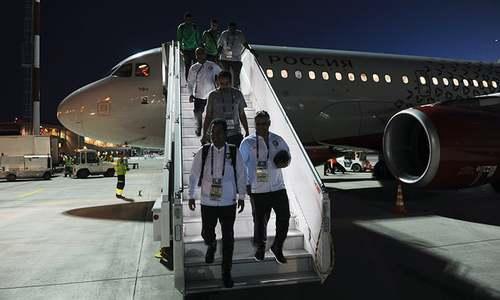 سعودی عرب کی ٹیم کے طیارے میں بھڑک اٹھی