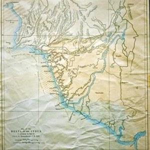 ایڈورڈ ویلر بنایا ہوا انڈس ڈیلٹا کا نقشہ جو 1867 میں ایک جریدے میں شائع ہوا۔