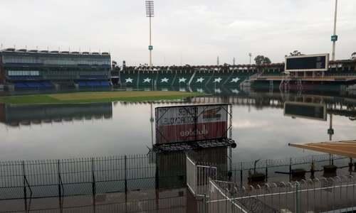 A view of the Gaddafi Stadium after the heavy downpour. — Abu Bakar Bilal