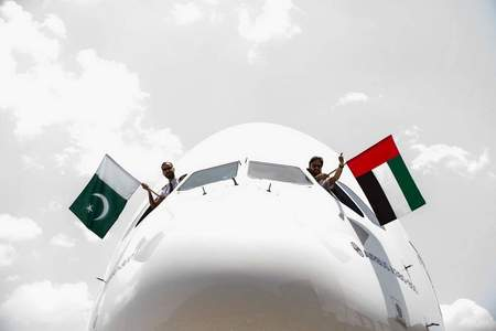 First A380 flight to Pakistan welcomed with pomp and style at Islamabad airport