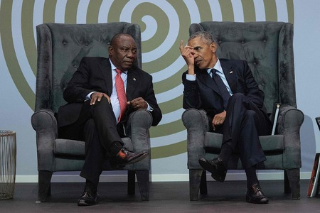 Obama delivers veiled rebuke to Trump in Mandela address
