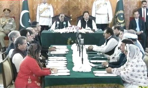 Members of 21-strong new cabinet administered oath by president