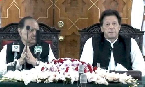President Mamnoon and PM Khan. — DawnNewsTV