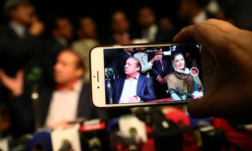 Nawaz Sharif and Maryam Nawaz at a news conference in London on July 11, 2018 | Reuters