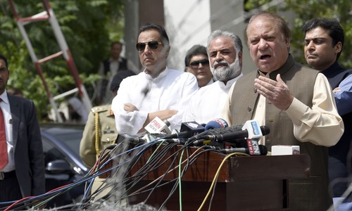 Nawaz Sharif addresses the media in Islamabad in July 2017 | Mohammad Asim, White Star