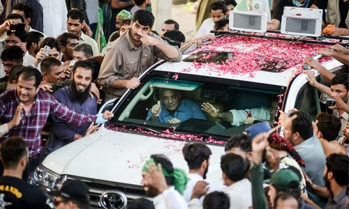 Shehbaz Sharif leads a rally towards Lahore airport to welcome Nawaz Sharif and Maryam Nawaz on July 13 this year | Murtaza Ali, White Star
