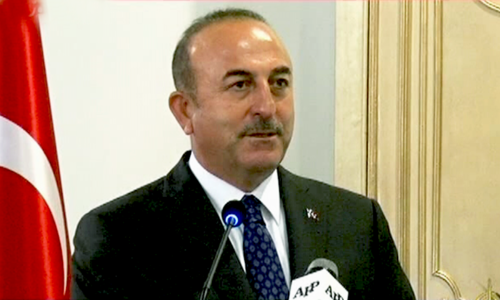 Turkish FM Cavusoglu addresses a joint presser in Islamabad — DawnNewsTV