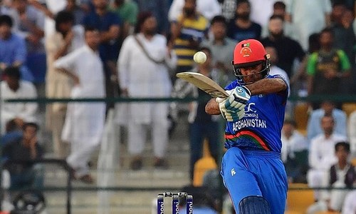 Hashmatullah Shaidi plays a shot during the ODI Asia Cup cricket match between Pakistan and Afghanistan — AFP