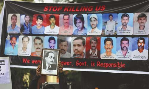 Hundreds protest in Indian capital against deaths of sewer cleaners