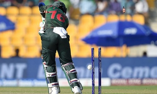 Liton Das is dismissed by Junaid Khan during the Asia Cup match between Bangladesh and Pakistan — AFP