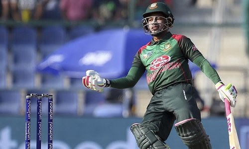 Mushfiqur Rahim reacts after playing a shot during the Asia Cup match between Pakistan and Bangladesh. — AP