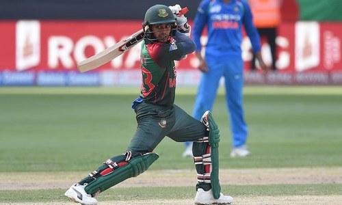 Bangladesh batsman Mehidy Hasan Miraz plays a shot during the Asia Cup cricket match between Bangladesh and India. — AFP
