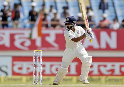 Shaw bats during the first day of the first cricket test match between India and West Indies. — AP