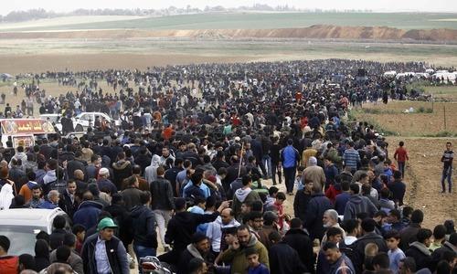اسرائیلی فوج کی فائرنگ سے جاں بحق 7 فلسطینیوں کی نماز جنازہ ادا