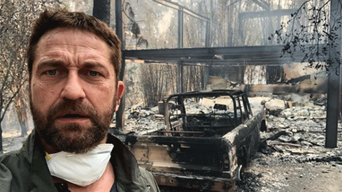 "Gerard Butler posts image of Malibu home ""half gone"" in wildfire"