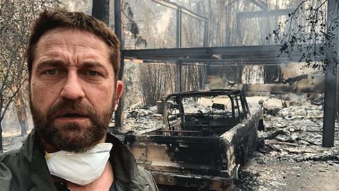 "Gerard Butler posts image of Malibu home ""half gone"" in wildfire"