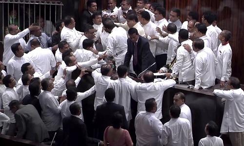Sri Lankan lawmakers fight in Parliament over PM dispute