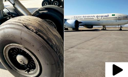 غیرملکی ایئر لائن کے طیارے کا لینڈنگ کے دوران ٹائر پھٹ گیا