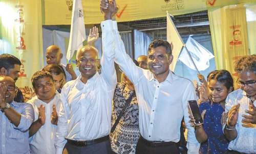 Solih sworn in as Maldives president, replacing pro-China leader