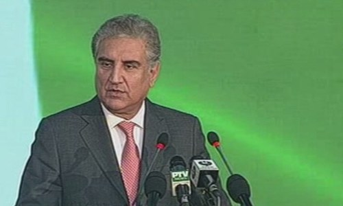 Foreign Minister Qureshi delivers his speech. — DawnNewsTV
