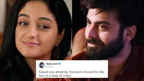 Nadia Jamil's latest tweets prove Fawad Khan is a hero in real life too