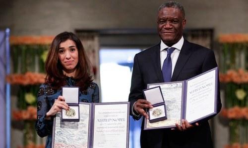 نادیہ مراد، ڈاکٹر ڈینس مکویگے کو امن کے 'نوبیل انعام' سے نواز دیا گیا