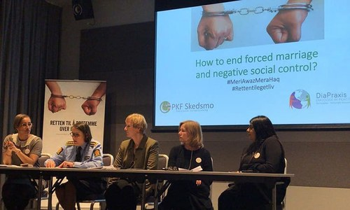 Panel at the launch event of the anti-forced marriage campaign.