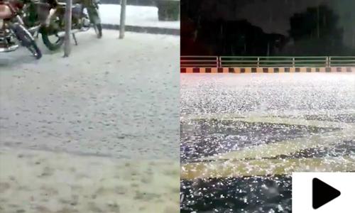 لاہور شہر کے مختلف علاقوں میں ژالہ باری، موسم مزید سرد