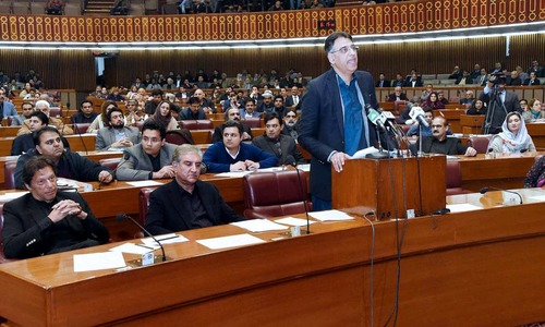 Finance Minister Asad Umar presents third finance bill amidst loud protests