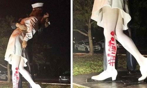 خاتون اور مرد کے تاریخی مجسمے پر'می ٹو' لکھنے پر ہنگامہ