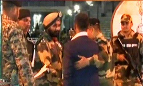 Wg Cdr Abhinandan received by Indian military officials.