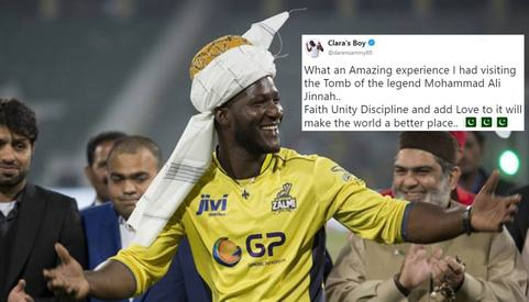 Peshawar Zalmi captain Daren Sammy visits Mazar-e-Quaid and wins Pakistan's hearts once again