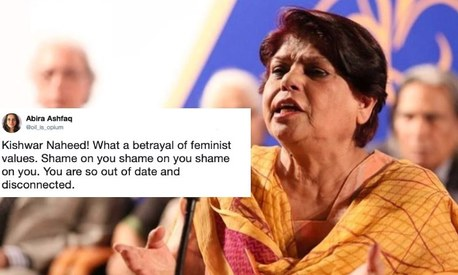Poet Kishwar Naheed slammed the Aurat March, and then Twitter slammed her