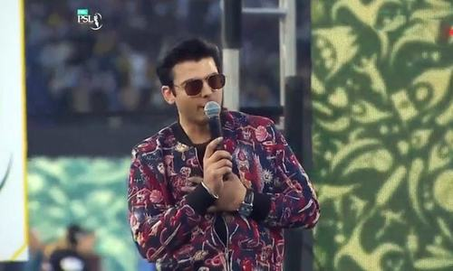 Fawad Hasan singing the official PSL track. —DawnNewsTV