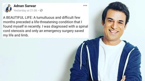 Filmmaker Adnan Sarwar says he's on the path to recovery from a life-threatening condition