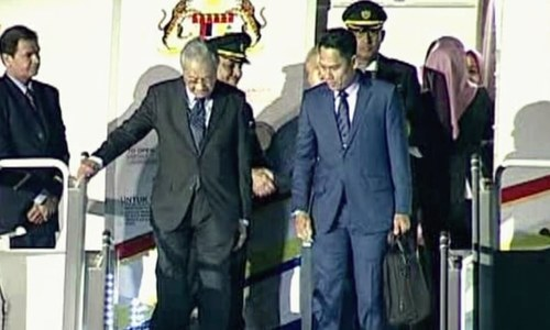 PM Mahathir pictured at Nur Khan airbase upon his arrival. — DawnNewsTV