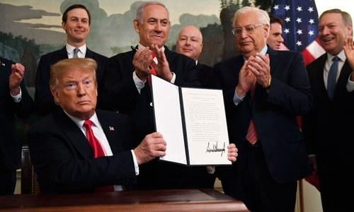 ڈونلڈ ٹرمپ نے گولان ہائٹس پر اسرائیل کی حاکمیت کو تسلیم کرلیا