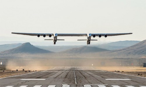 World's largest plane makes first flight over California