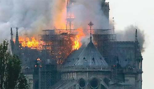 Spire collapses at Paris's Notre-Dame cathedral after ferocious fire
